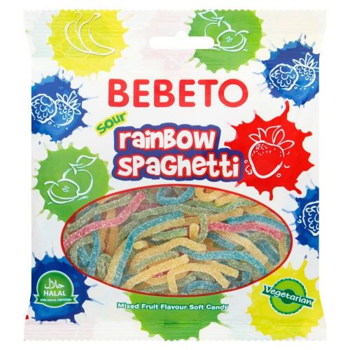 Bebeto Sour Rainbow Spaghetti 70g (Turkey)